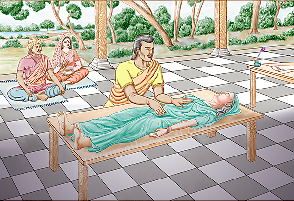 pneumatherapist performs pranamayati spiritual energy on female client